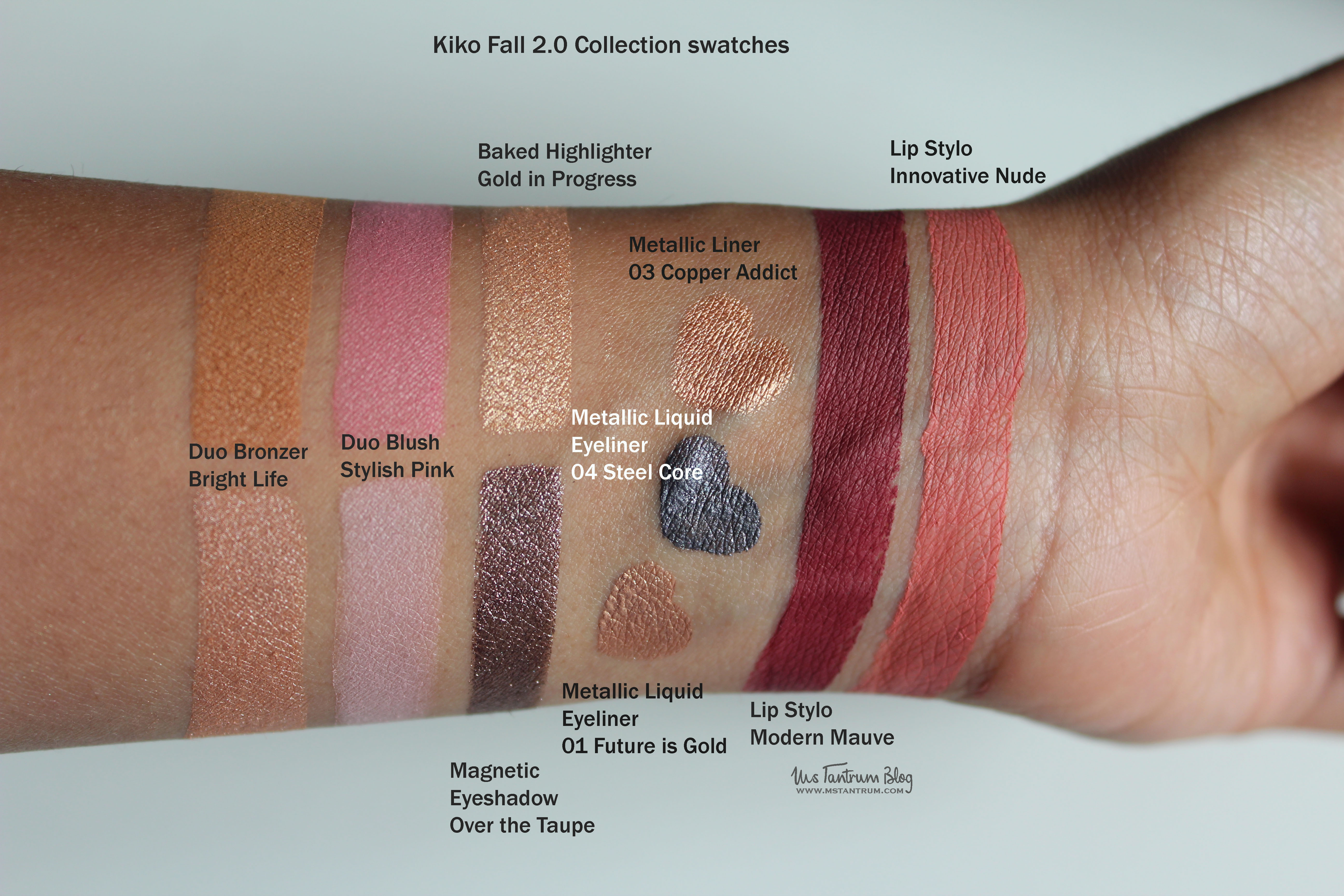 Kiko Fall 2.0 collection swatches
