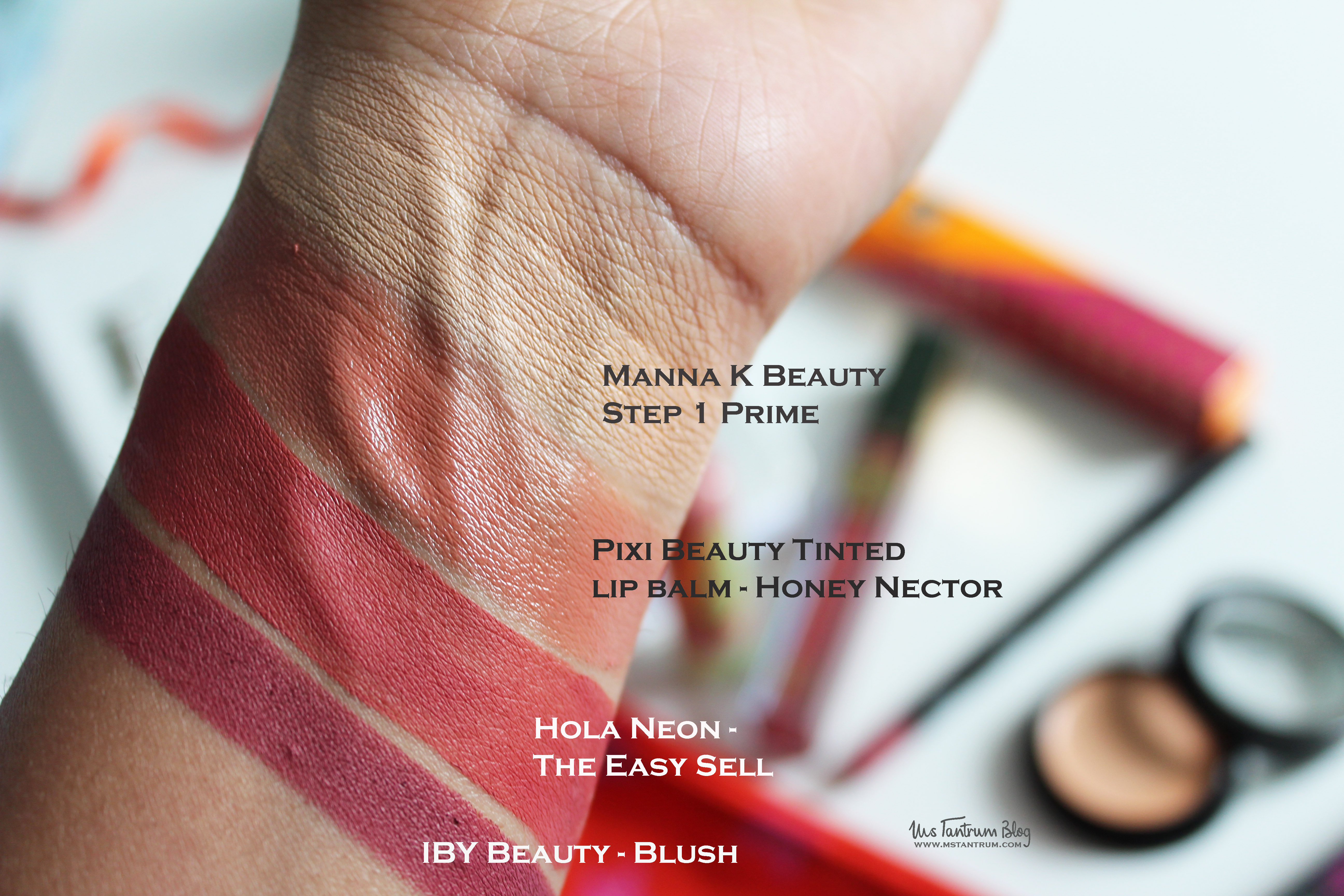 Lip Monthly swatches - Manna K step 1 prime, pixi beauty tinted lip balm - honey nectar, hola neon - The Easy Sell, Iby Beauty - Blush