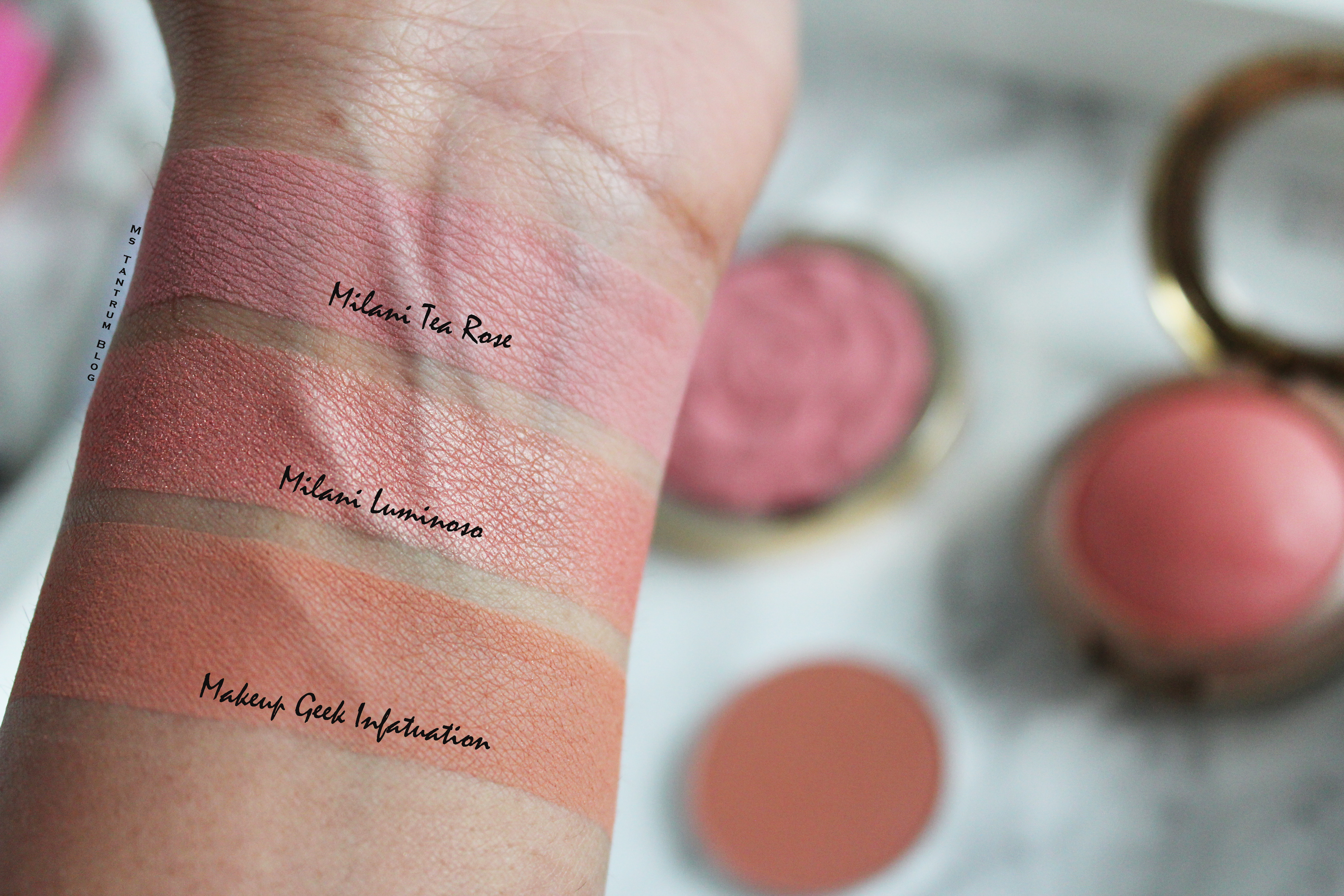 Milani Blushes swatch, makeup geek infatuation, milani tea rose, milani luminoso