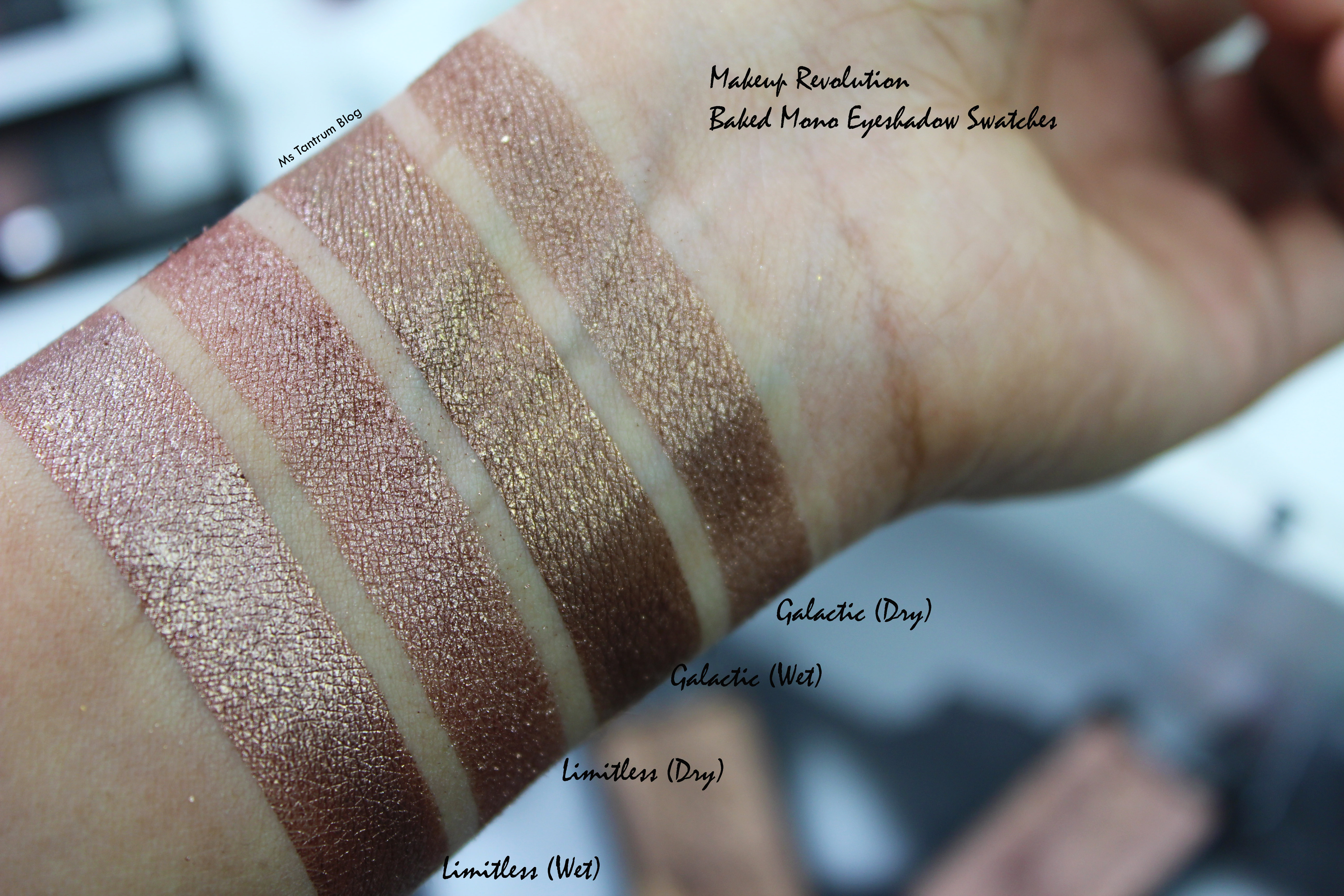 Makeup Revolution Baked Eyeshadow swatches - Limitless, Galactic